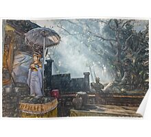 Temple Bathed in Sunlight through Smoke Poster