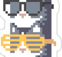 Cats In Glasses Pile Pixel Art Sticker