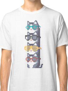 Cats In Glasses Pile Pixel Art Classic T-Shirt