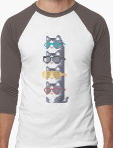 Cats In Glasses Pile Pixel Art Men's Baseball ¾ T-Shirt