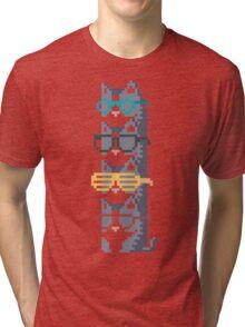 Cats In Glasses Pile Pixel Art Tri-blend T-Shirt