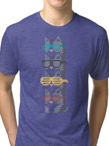 Cats In Glasses Pile Pixel Art Tri-blend T-Shirt