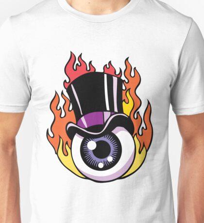 Top Hat Eye Ball on Fire Unisex T-Shirt