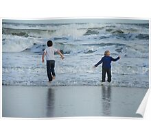 Boys jumping waves Poster