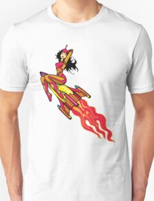 Beautiful Space Girl Riding Rocket Unisex T-Shirt