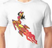 Beautiful Space Girl Riding Rocket Unisex T-Shirt
