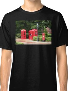 British Red Telephone Box And Pillar Box Classic T-Shirt