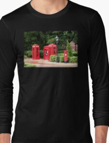 British Red Telephone Box And Pillar Box Long Sleeve T-Shirt