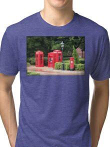 British Red Telephone Box And Pillar Box Tri-blend T-Shirt