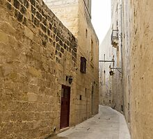 The Silent City - Big Walls Closing in and an Inviting Red Door in Mdina, Malta by Georgia Mizuleva
