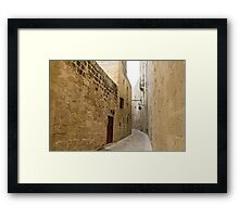 The Silent City - Big Walls Closing in and an Inviting Red Door in Mdina, Malta Framed Print