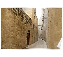 The Silent City - Big Walls Closing in and an Inviting Red Door in Mdina, Malta Poster