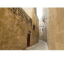 The Silent City - Big Walls Closing in and an Inviting Red Door in Mdina, Malta Photographic Print