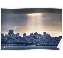 Sun Rays on San Francisco Poster