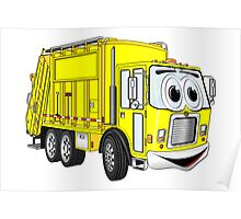 Yellow Cartoon Garbage Truck Poster