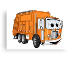 Orange Smiling Garbage Truck Cartoon Canvas Print
