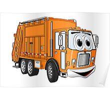 Orange Smiling Garbage Truck Cartoon Poster