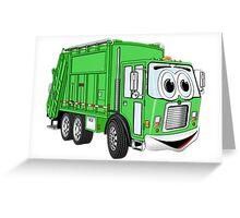 Bright Green Smiling Garbage Truck Cartoon Greeting Card