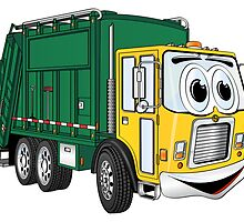 Green Gold Smiling Garbage Truck Cartoon by Graphxpro