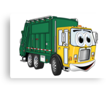 Green Gold Smiling Garbage Truck Cartoon Canvas Print