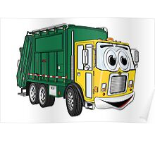 Green Gold Smiling Garbage Truck Cartoon Poster