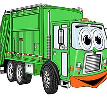 Silly Smiling Garbage Truck Cartoon by Graphxpro