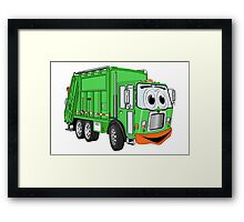 Silly Smiling Garbage Truck Cartoon Framed Print