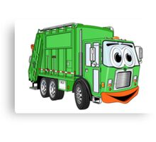Silly Smiling Garbage Truck Cartoon Canvas Print