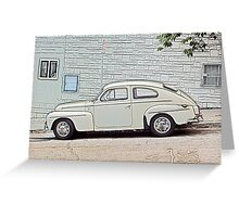 White Volvo Greeting Card