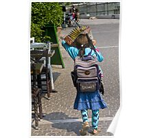 Girl with Accordion Sunshade Poster