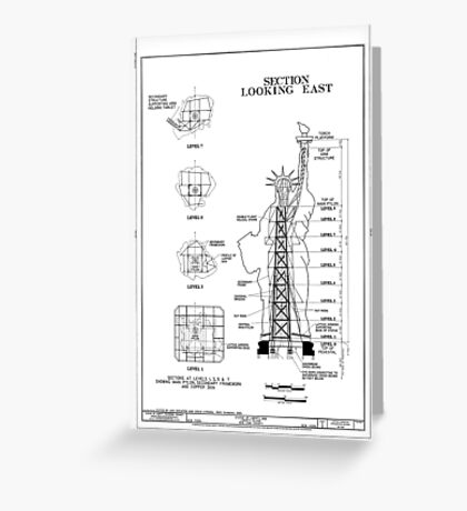 Statue of Liberty Structural Schematic Greeting Card