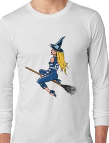 Witch Riding a Broom Stick Long Sleeve T-Shirt