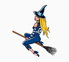 Witch Riding a Broom Stick Unisex T-Shirt