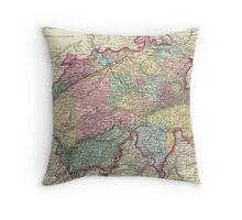 Vintage Map of Switzerland (1856) Throw Pillow
