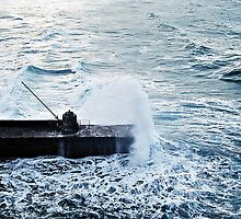 """"""" Trying to shelter behind the watch tower as another wave approaches"""" by mrcoradour"""