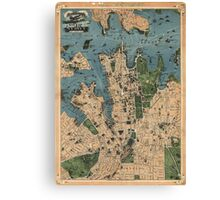 Vintage Map of Sydney Australia (1922) Canvas Print