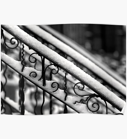 Snow Covered Bannister Poster