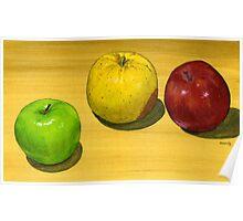 Fancy Apple Trio Poster
