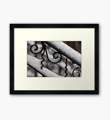 Snow Covered Bannister Framed Print