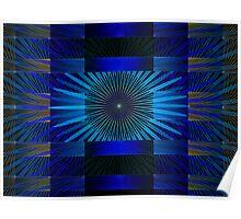 Fanning Petals Blue Poster