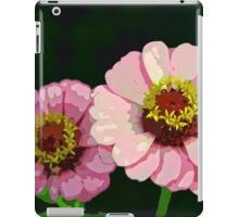 Modern Stylized Pink Zinnias Silk Screen iPad Case/Skin