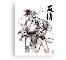 Dragon Ball Z Goku and Krillin with Calligraphy Friendship Canvas Print