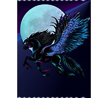 Black Pegasus and Blue Moon Photographic Print