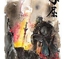 Dark Souls bonfire with calligraphy by Mycks