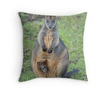 Mrs Swamp Wallaby and her baby Throw Pillow