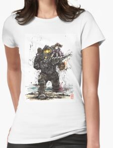 Bioshock Subject Delta with Little Sister sumi style Womens Fitted T-Shirt