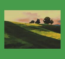 Vibrant Rolling Green Fields at Sunset Kids Tee