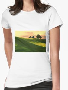 Vibrant Rolling Green Fields at Sunset Womens Fitted T-Shirt
