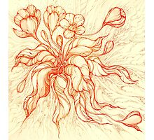 Bridal Bouquet. Hand drawn watercolor and ink drawing Photographic Print
