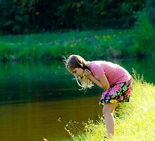 Girl and the butterfly  by pramodmeee